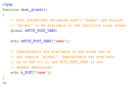how to make global variable in php