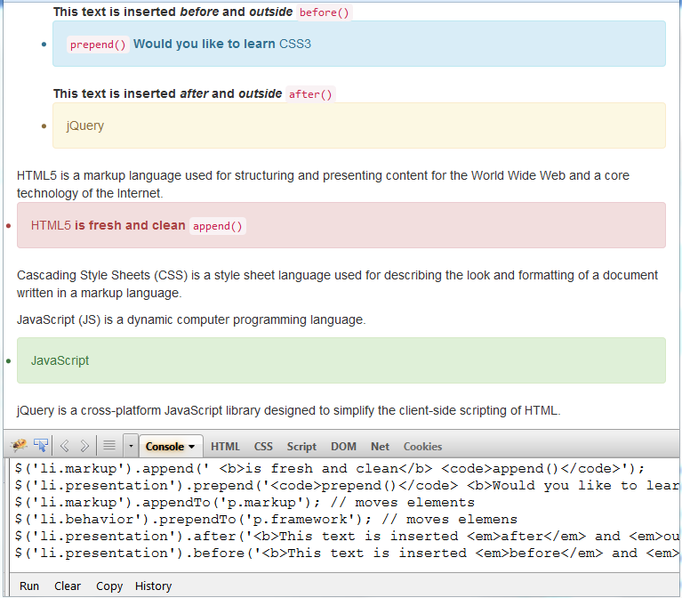 jquery append prepend after before