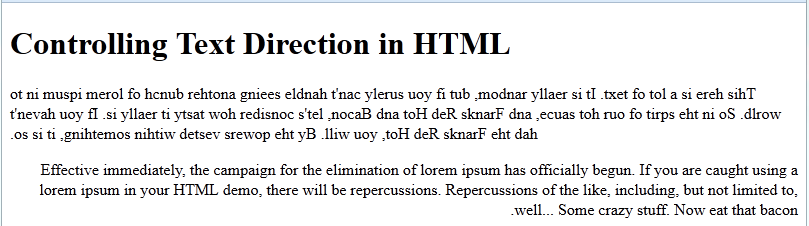 controlling text direction in html