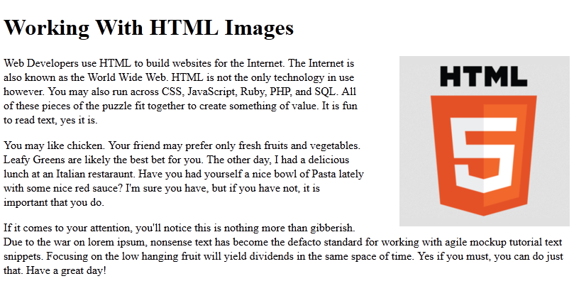css image float right