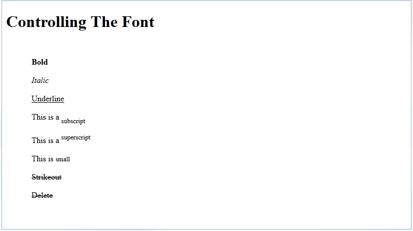 html font markup elements