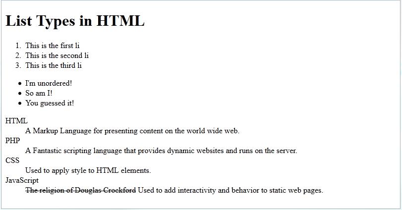 html list types