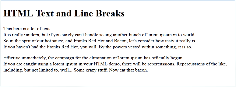 html text using line breaks