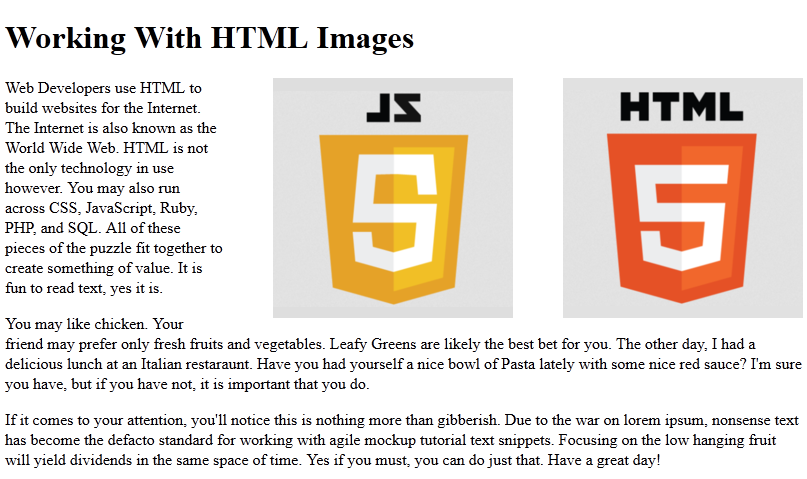 multiple html images