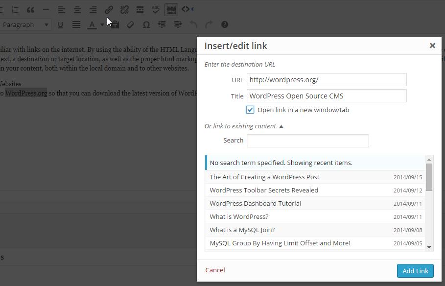 Enlace de inserción de WordPress