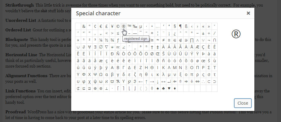 WordPress Special Character