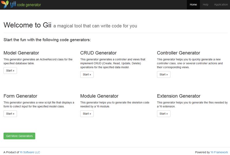 yii gii code generator