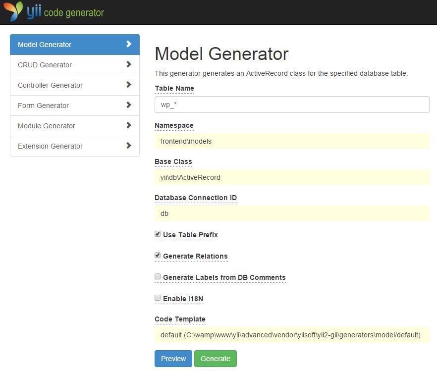 yii wordpress models