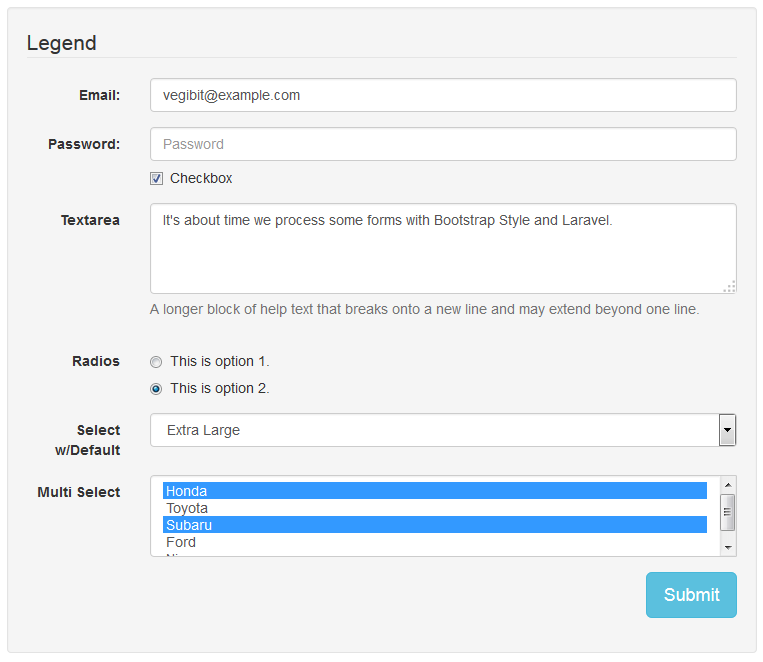 laravel bootstrap form processing