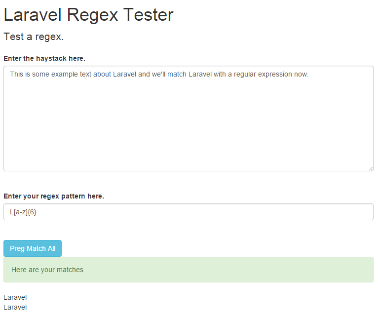 laravel regular expression successful match