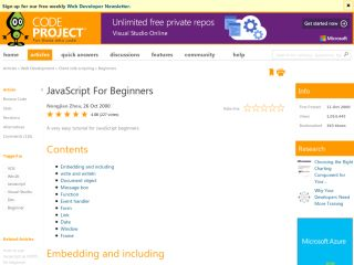 JavaScript Tutorials For Beginners codeproject-javaScript-For-Beginners