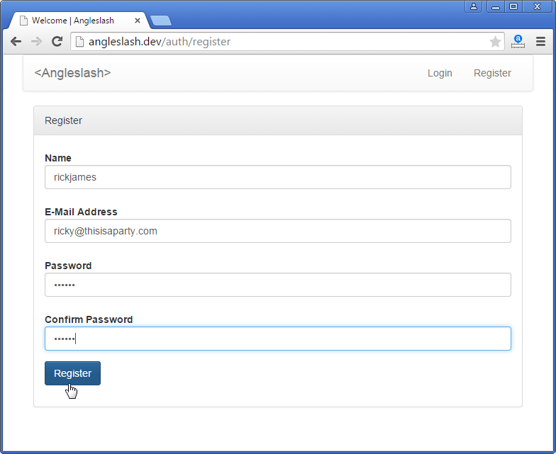 Registering A New User