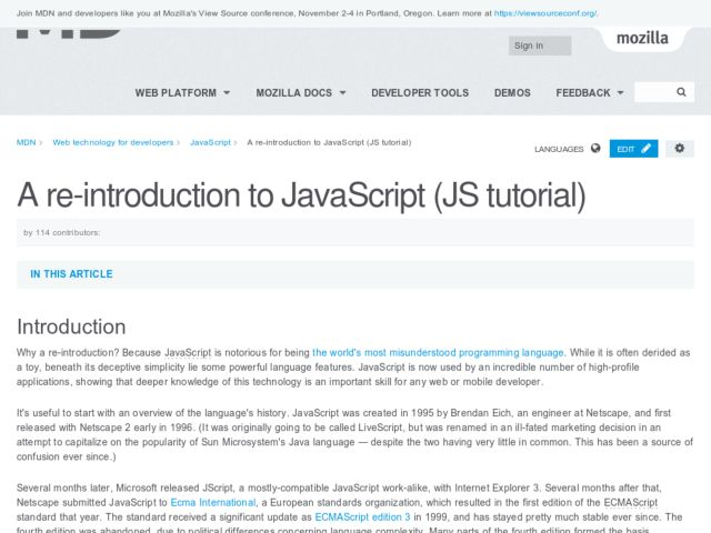 reintroduction to javascript