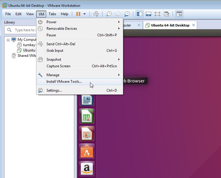 Select VM - Install VMware Tools