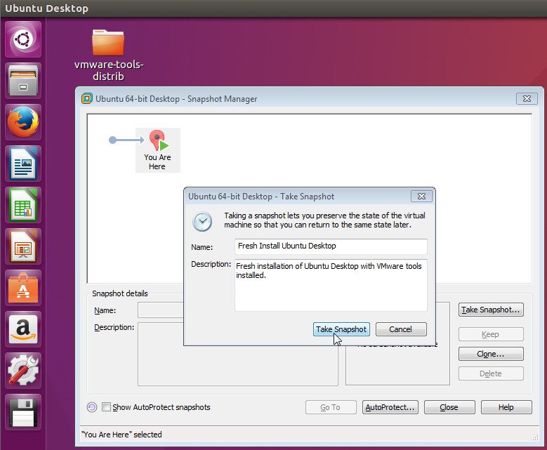 Take Snapshot Fresh Install Ubuntu Desktop