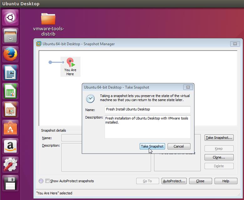 Take Snapshot Fresh Install Ubuntu Desktop