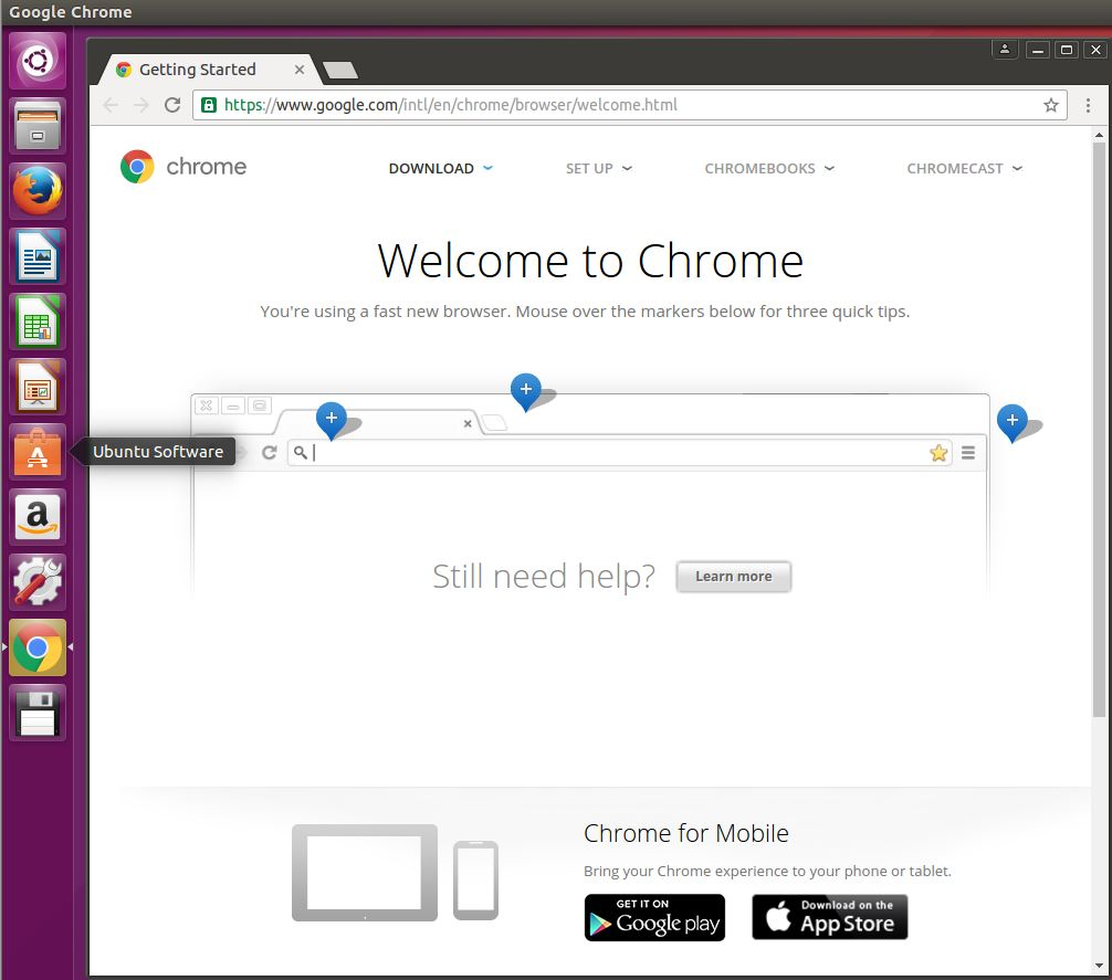 Welcome to Chrome on Ubuntu Desktop