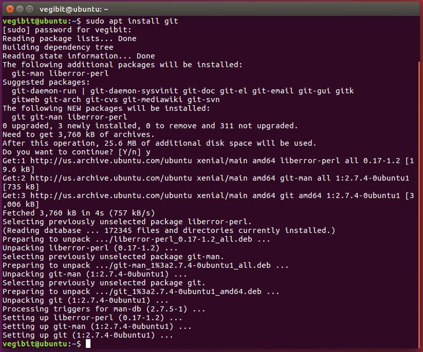 descargando git al escritorio de ubuntu