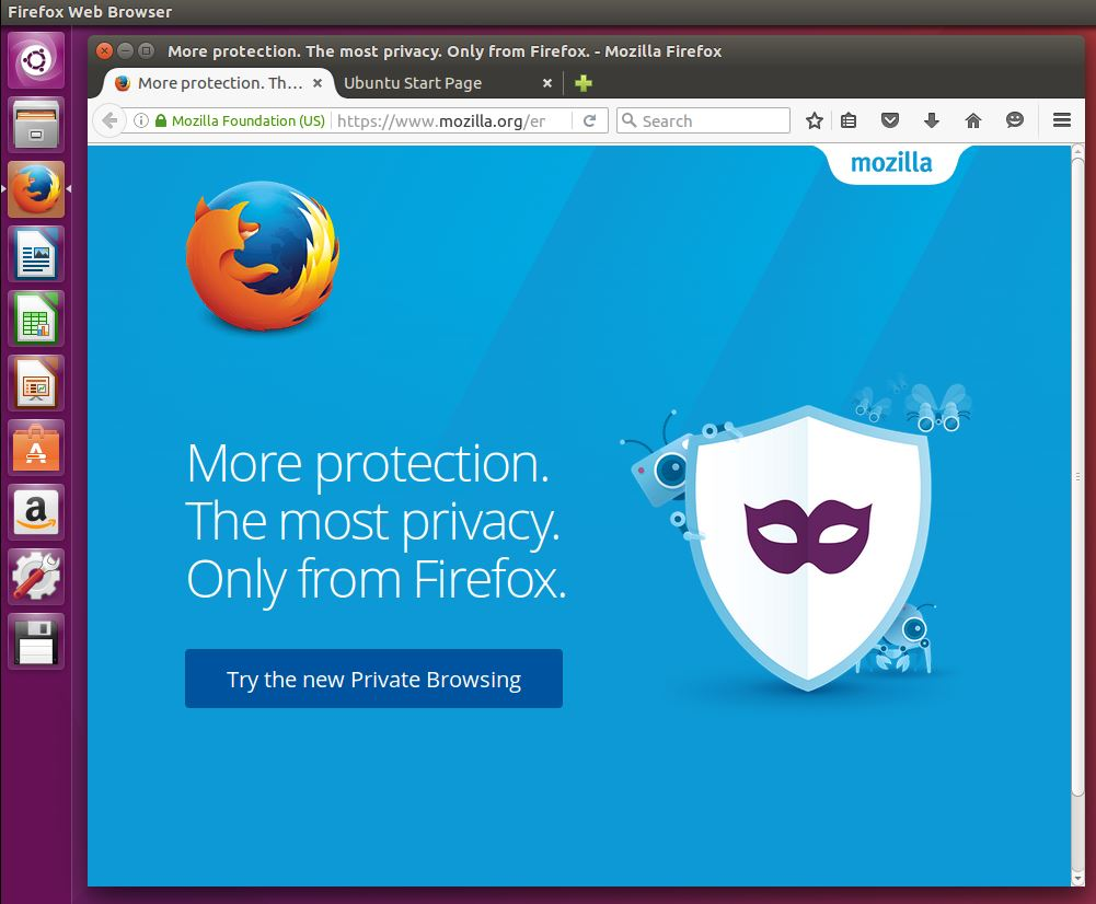 firefox browser on ubuntu desktop