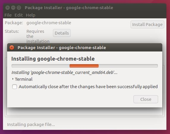 instalando el proceso de google chrome