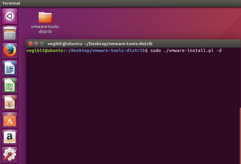 intall vmware tools at terminal ubuntu