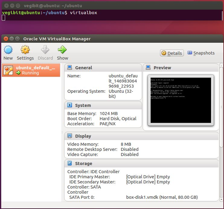 launch virtualbox gui on ubuntu