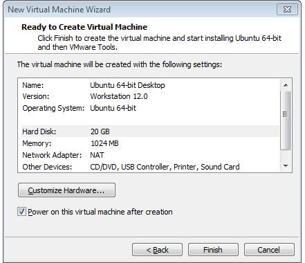 listo para crear la máquina virtual