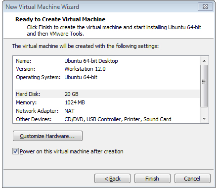 ready to create the virtual machine