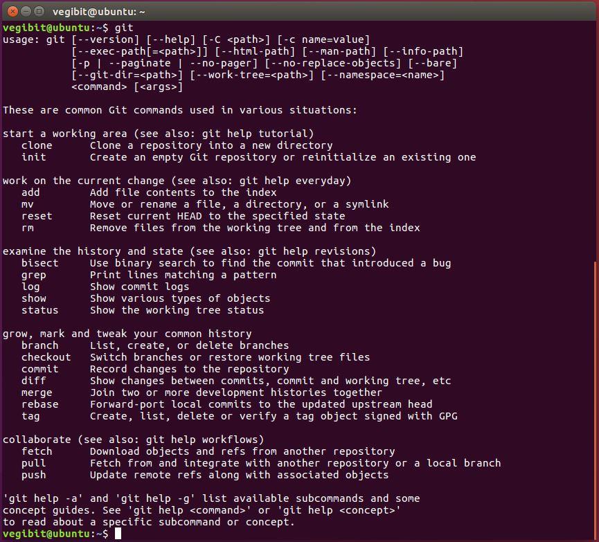 running git in ubuntu