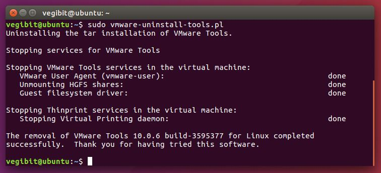 uninstall vmware tools Ubuntu