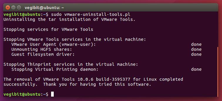 uninstall vmware tools Ubuntu