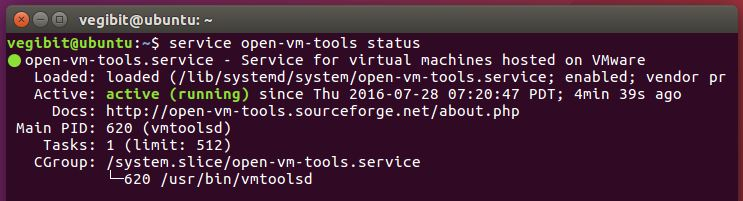 vmware tools service is running