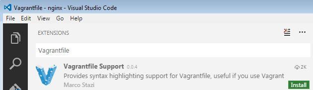 agregar resaltado de sintaxis de Vagrantfile