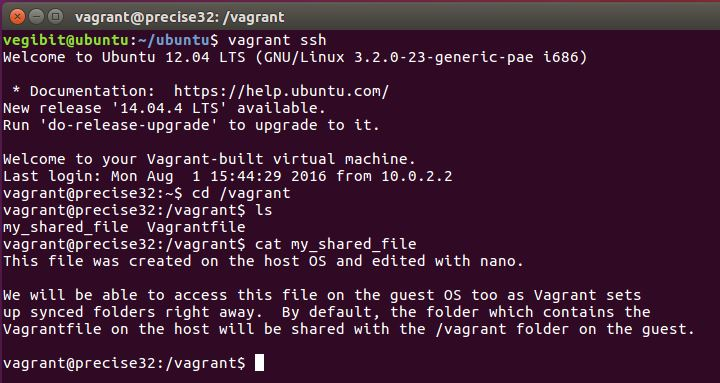 vagrant synced folder default