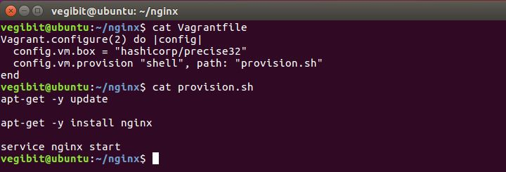 vagrantfile and provision shell script contents