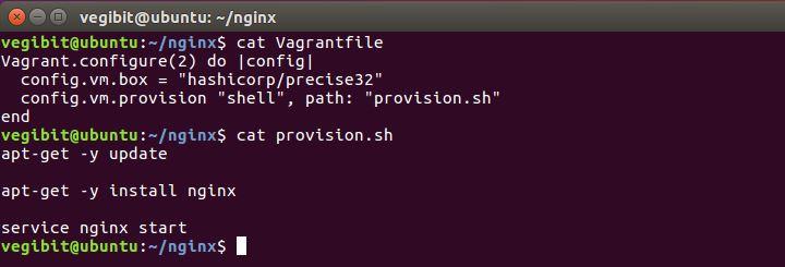vagrantfile and provision shell script contents