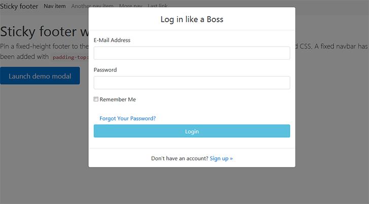 twitter-like-modal-to-login