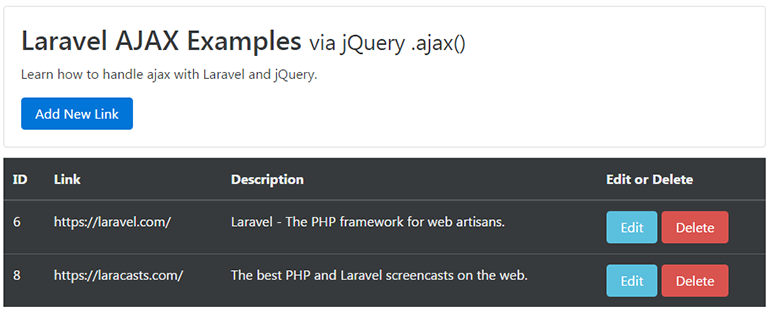 Laravel AJAX Examples via jQuery ajax
