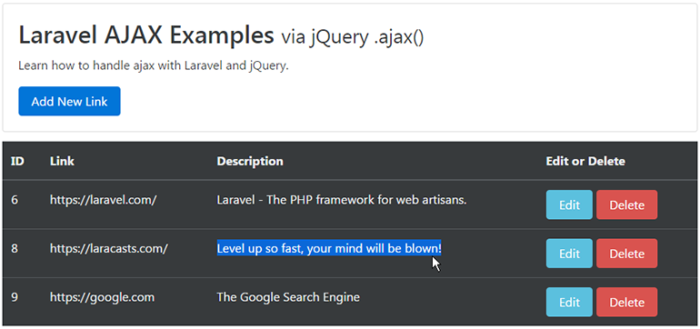 ajax update result laravel