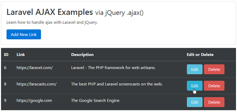 edit resource via ajax laravel