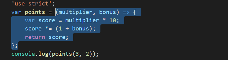 multi line arrow function in ES6