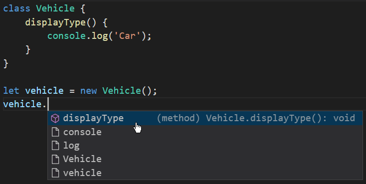 es6 method autocomlete IDE