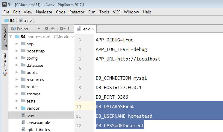 Configurar el archivo env