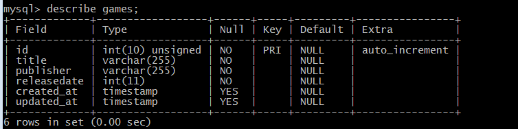describe mysql table from console