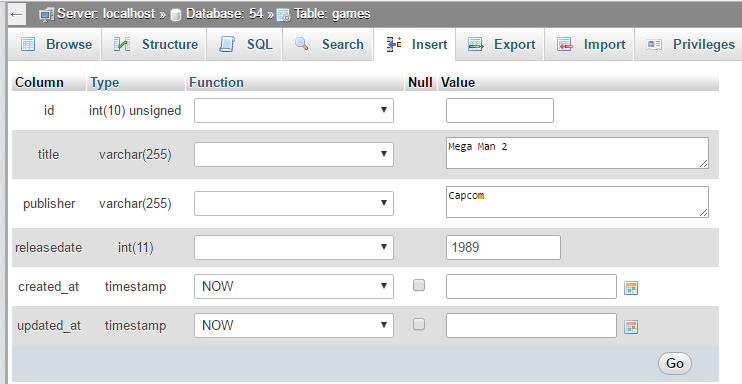 insert data into database with phpmyadmin