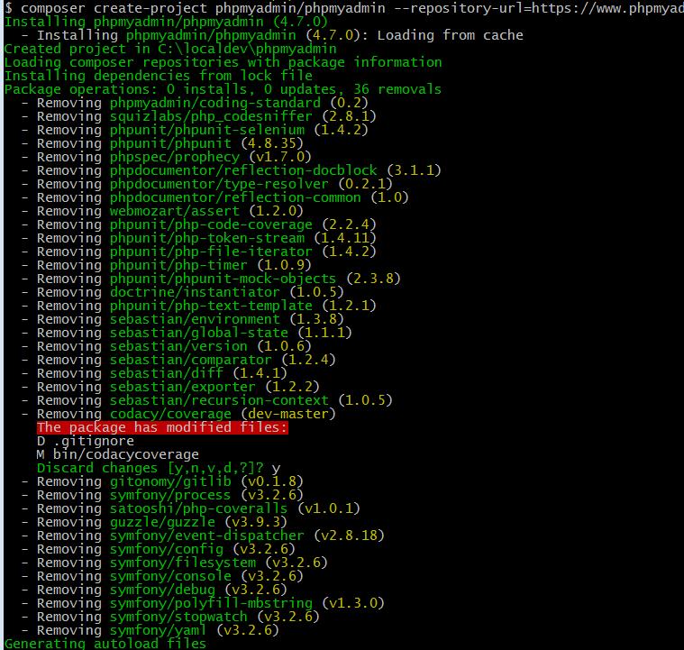 install phpmyadmin using composer on laravel homestead