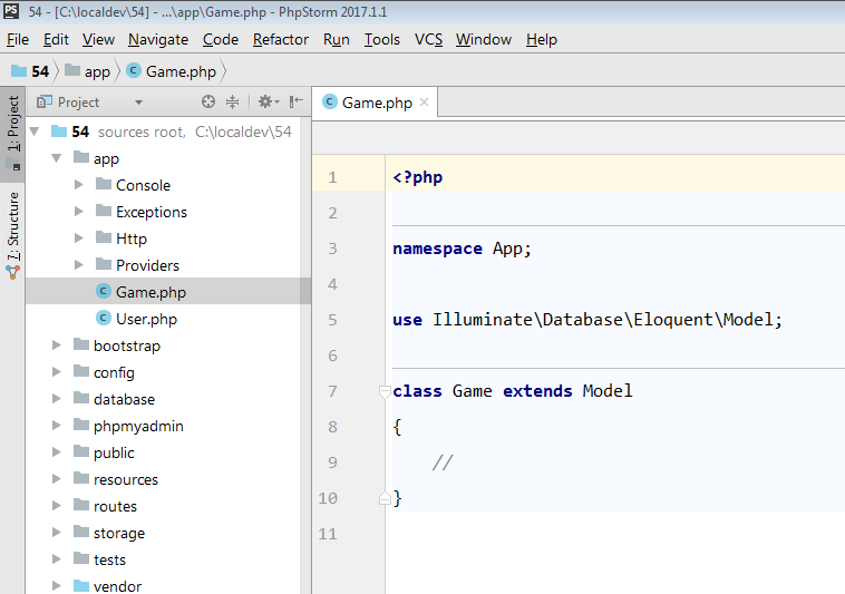 model in phpstorm