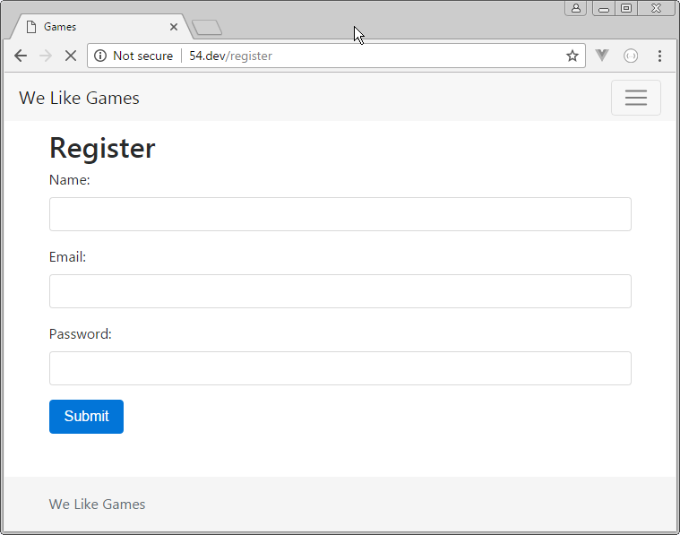 new user registration form laravel