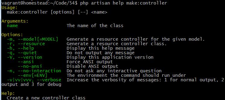 php artisan help make controller