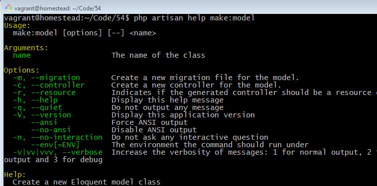 php artisan help make model